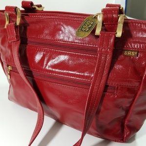 SAS vintage red hand-sewn handbag purse
